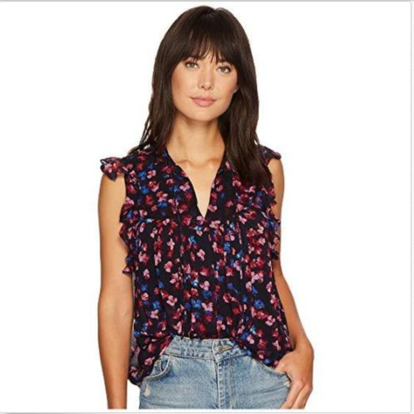 93d025c036c64 LUCKY BRAND RUFFLE SHEER FLORAL BLOUSE TOP L NWT